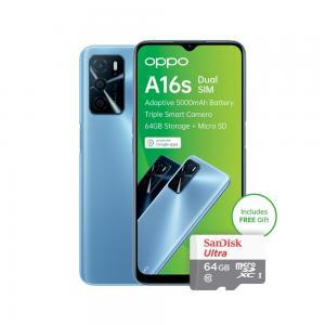 Oppo A16s + 64GB memory card in blue